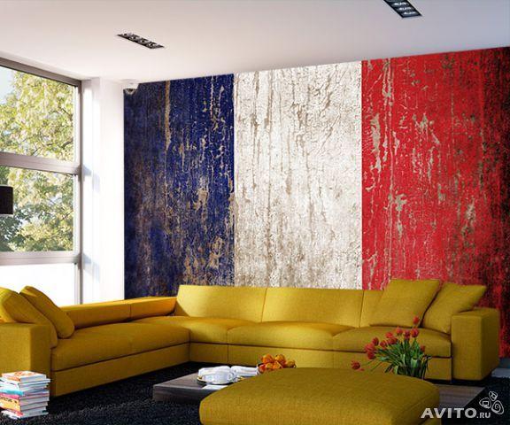 """Фотообои """"Флаг франции в стиле гранж"""""""
