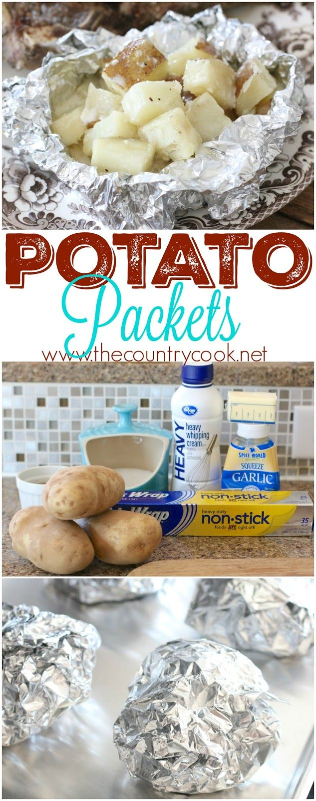 Foil Potato Packets recipe from The Country Cook. So easy to make but the flavor is outta this world good! Diced potatoes with butter, garlic and heavy cream. Plus, it's an easy clean up! Goes great with steak or grilled chicken!