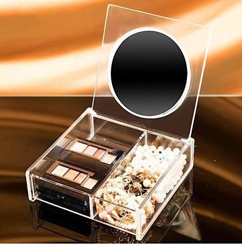 Clear Acrylic Mini Makeup & Jewelry Necklace Organizer with Storage Mirror #necklaceorganizer