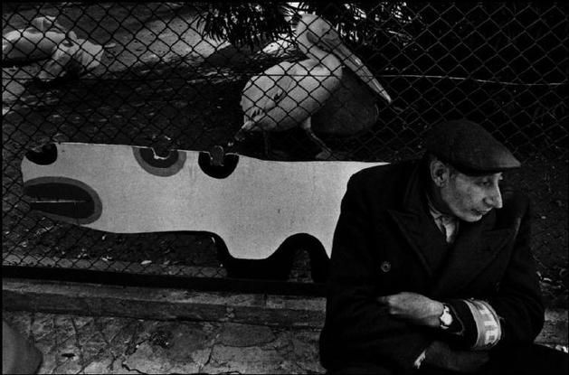"""ISRAEL. 1974. The """"old"""" Zoo in Tel Aviv. Micha Bar Am. I love the connection is apperance between the pelcan and the old man."""