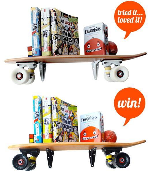 wheelsnboards retro wooden skateboard shelf