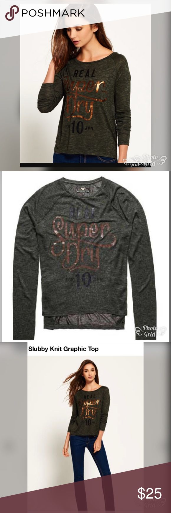 Sale alert 🚨 NWT super dry graphic top Super dry  large graphic top . A light weight Crew neck top featuring a long length in the back and super dry logo in the front with a bronze and black foil print details. Superdry Tops
