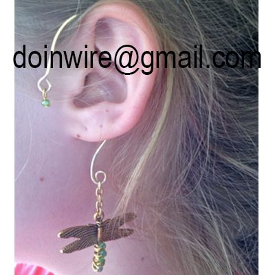 doinWire-DOW249 Ear Wrap, gold tone craft wire, top loop with green crystal…