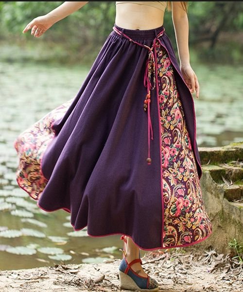 Lady Purple Ethnic  Long Floral Skirt