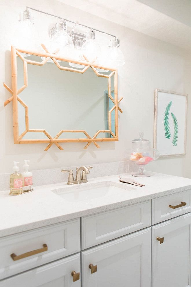 Bathroom Mirror. Faux bamboo bathroom mirror. #Bathroom #Mirror House of Jade Interiors.