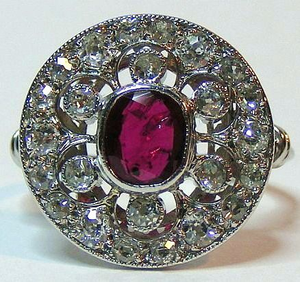 Art Deco Platinum  Ruby Ring