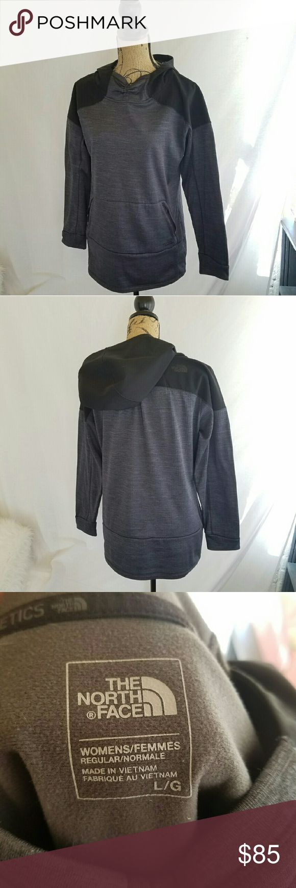 """Northface Black & Grey Hoodie Super warm . Gently used . Fleece lined.  Outer is a wind breaking material . Hood is waterproof . Front zip pocket . Slim fit . Pit to pit approx 20 1/2"""" . Length approx 28"""" . Arm length approx 26"""" . Hip approx 20"""" .  #101050 North Face Tops Sweatshirts & Hoodies"""