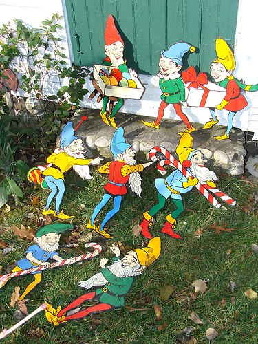Vintage Christmas Elves Decorations Painted on Wood Outdoor ...