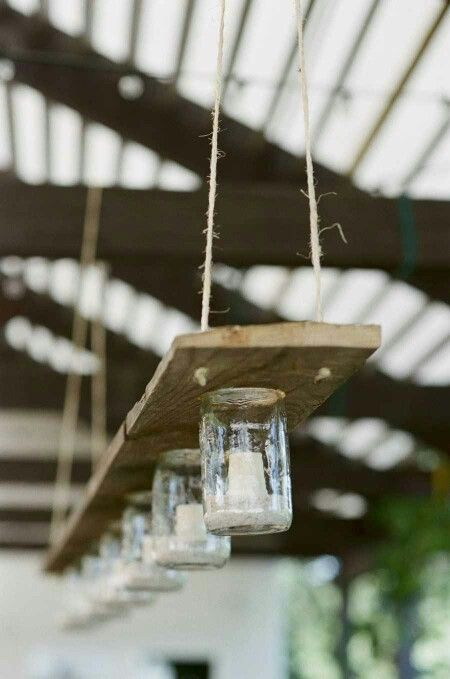 Hanging mason jar overhead light