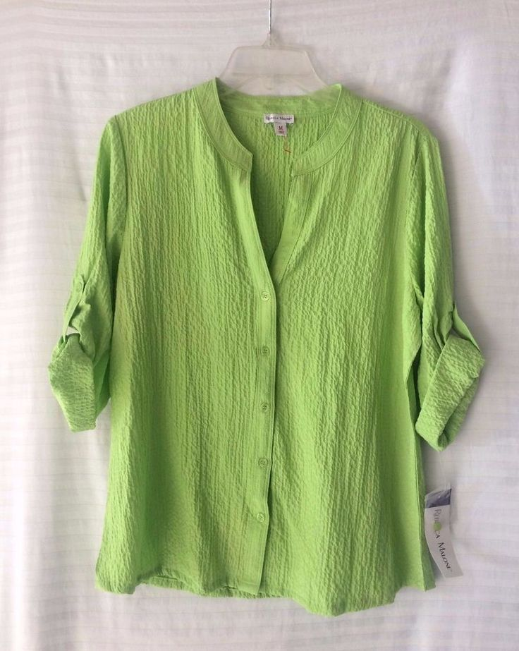 Rebecca Malone Lime Green Shirt Long Sleeve Size M #RebeccaMalone #ButtonDownShirt #Casual