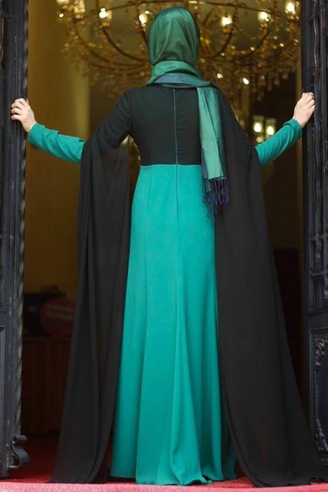 Merve Gündüz Yeşil Neslişah Abiye Elbise