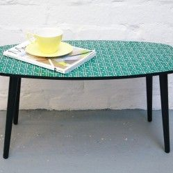 Vintage table printed with an atomic pattern designed by Littletree Designs. www.vintageactually.co.uk