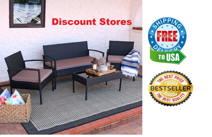 Patio Outdoor Furniture Set Durable Steel Frame Cushioned 4 Pieces Garden Relax #OutdoorFurniture