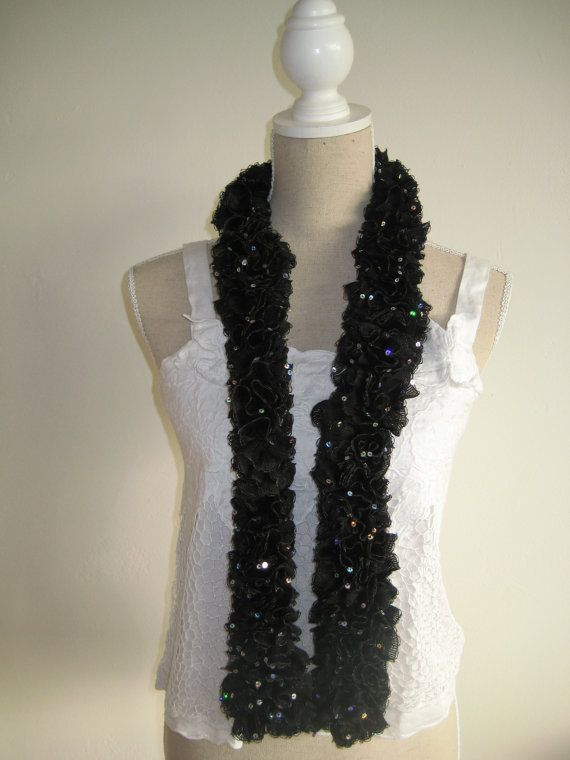 On Sale disc 50 Ruffle Scarf Crocheted  Black by MinnieCreation, €20.74