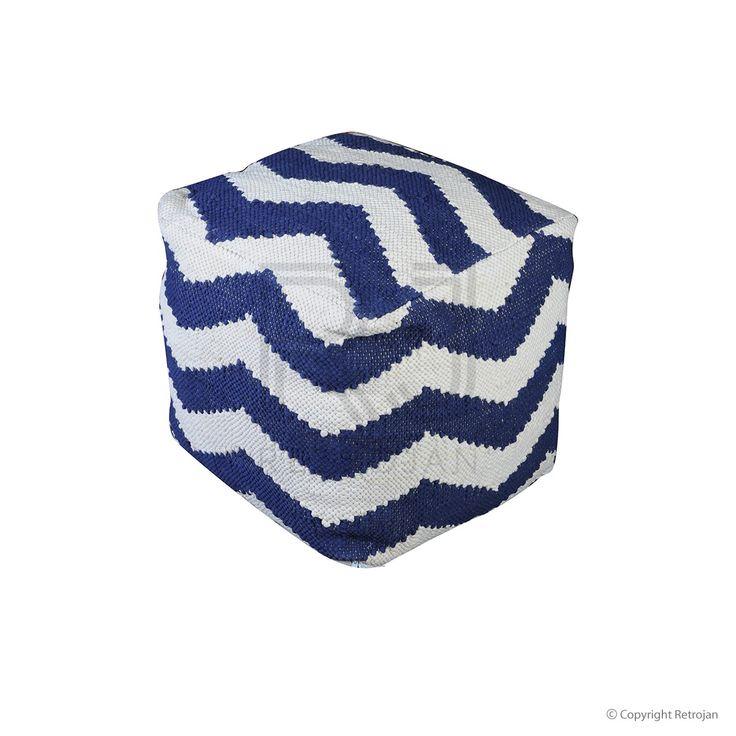 Funky Chevron Pouf - Blue | $149.00