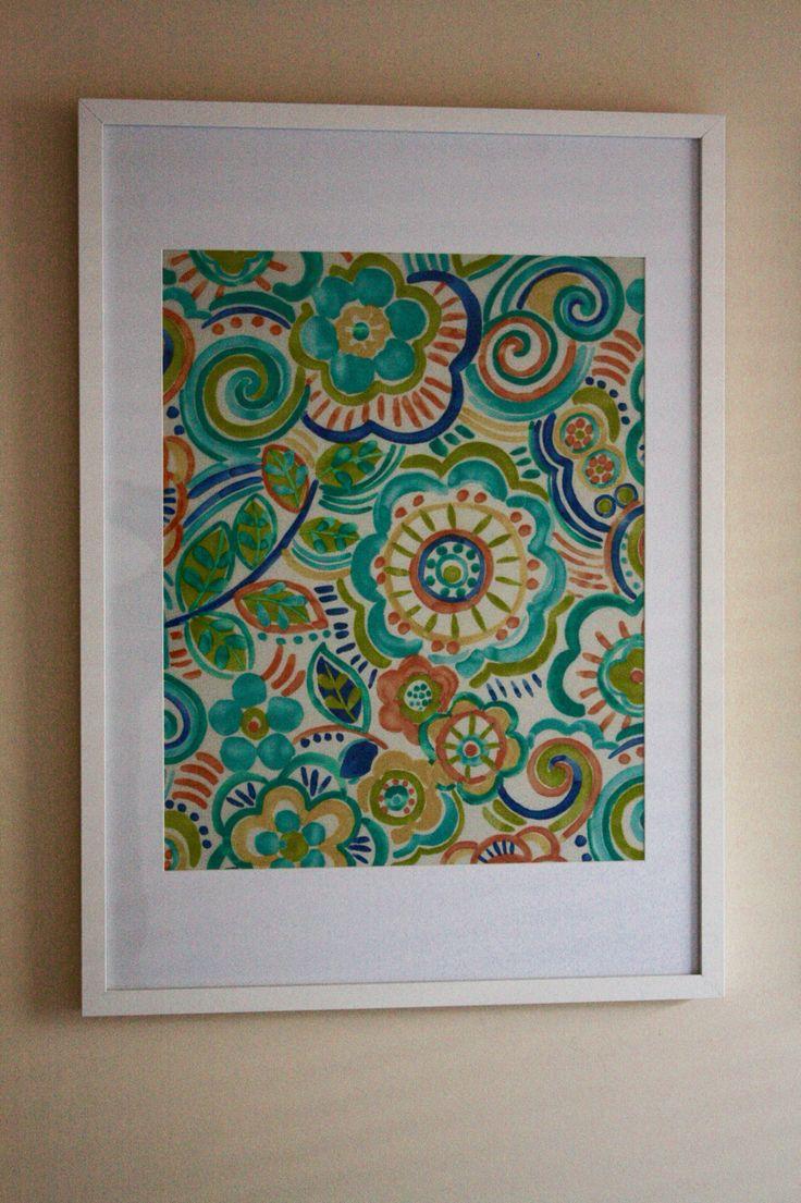 Retro Floral - Aqua/Blue/Yellow/Orange/Green By: Mill Creek Frame Size: 50cm x 70cm