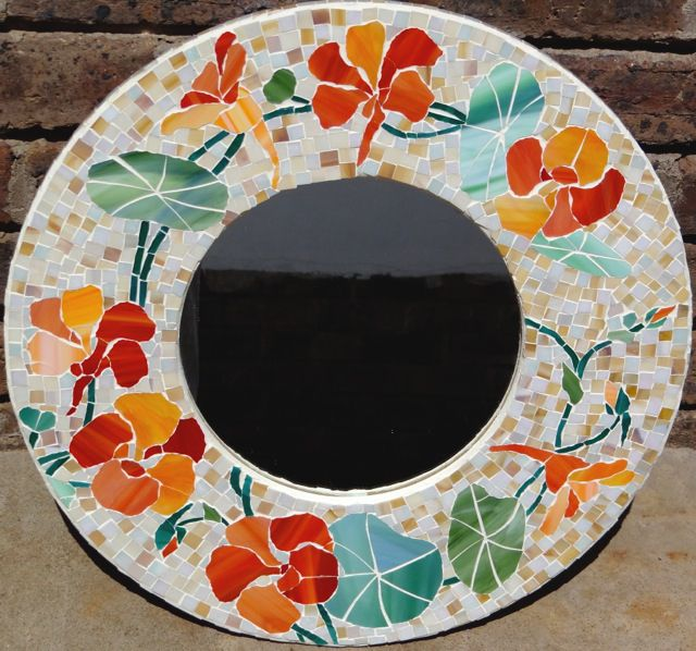 Glass mosaic nasturtium round mirror