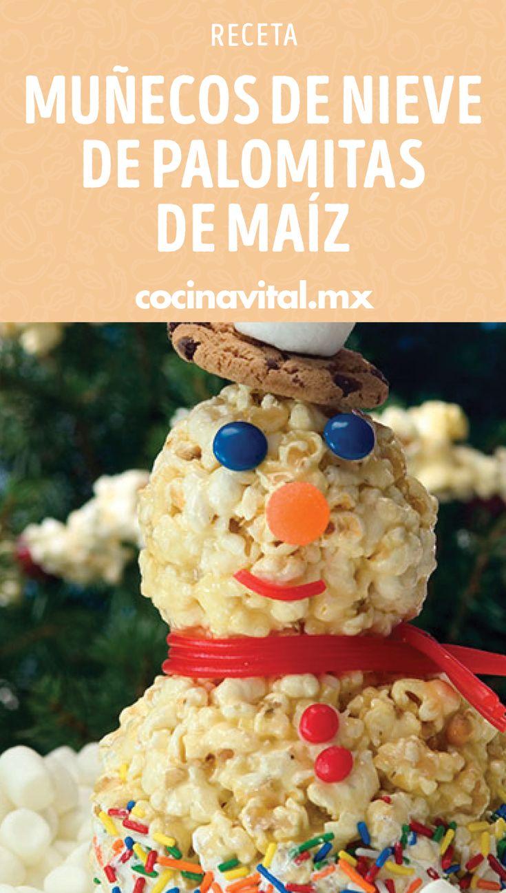 Esta temporada decembrina diviértete junto a los que más quieres preparando estos lindos muñecos de nieve de palomitas de maíz, ¡checa la sencilla receta! Tapas, Cupcakes, Breakfast, Food, Marshmallows, Holiday Desserts, Cooking Recipes, Morning Coffee, Cupcake Cakes
