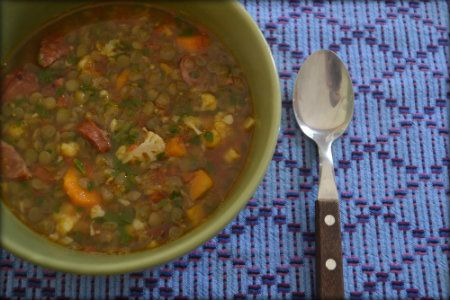 Smokey Sausage, Lentil and Chard Soup — Thinky Bites