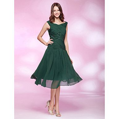 TS Couture Cocktail Party / Holiday / Wedding Party Dress - Dark Green Plus Sizes / Petite A-line / Princess Bateau Knee-length Chiffon – USD $ 99.99