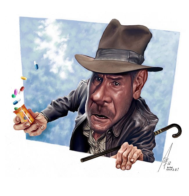 Indiana Jones caricature by Alex Gallego - Illustration from Spain