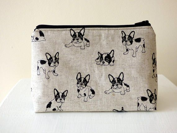 French Bulldog Cosmetic Bag Frenchie Makeup Bag Famous Dog