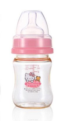2015 Hello Kitty Thermos Baby Bottle ,140ML Cut Solid Silica Gel Bottle,Feeding Bpa Free Hands Free Biberon Mamadeira HK309
