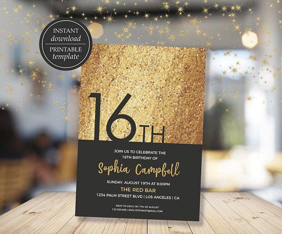 Sweet 16 Birthday Invitations Sweet Sixteen Birthday Invitation