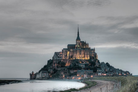 'Mont Saint Michel at sunset' by Pier Giorgio  Mariani on artflakes.com as poster or art print $18.03 #normandy #montsaintmichel #panorama #landscape
