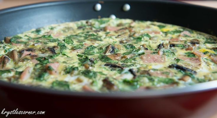 Spinach, Ham and mushroom Frittata Blog — Krystle's Corner