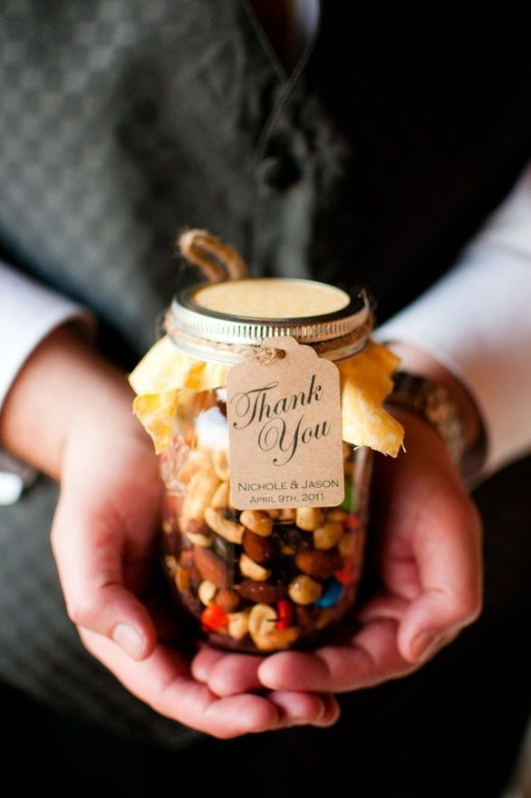 So cute! Trail mix or granola snack in mason jars as a gift or even a wedding thank you!