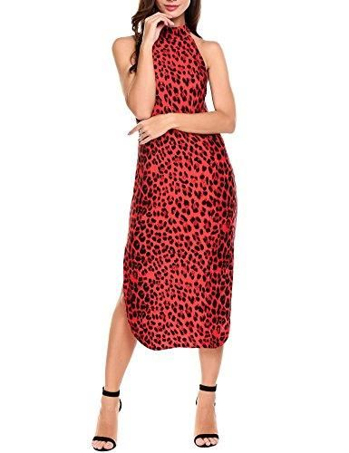 Long Red Leopard Print Dress with Side Splits