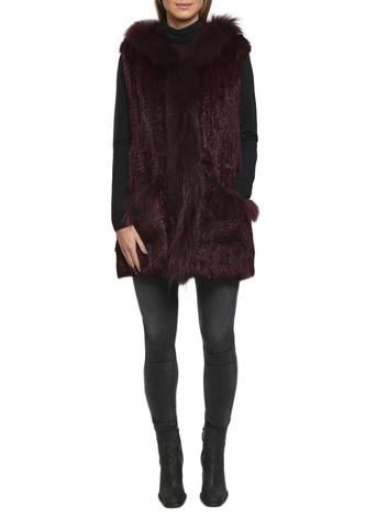 Burgandy Rabbit Fur Gilet Mid Thigh Length Raccon Trimmed by Jessimara
