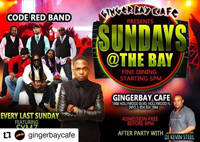 Credit to @gingerbaycafe    CODE RED BAND Live @ Ginger Bay  Cafe's SUNDAYS @ THE BAY this evening. Live music.Open 5pm serving DINNER until midnight. Band starts @ 7pm FREE Adm  b4 8pm. After party with DJ KEVIN until 4am.     #HollywoodTapFL #HollywoodFL #HollywoodBeach #DowntownHollywood #HardRockHolly #Miami #FortLauderdale #FtLauderdale #Dania #Davie #DaniaBeach #Aventura #Hallandale #HallandaleBeach #PembrokePines  #Miramar #CooperCity #Plantation #SunnyIsles #MiamiGardens…