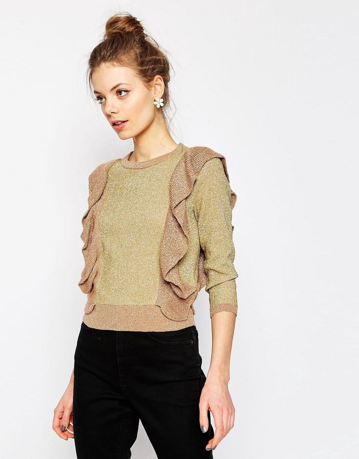 Image 1 of ASOS Metallic Sweater with Ruffle Detail