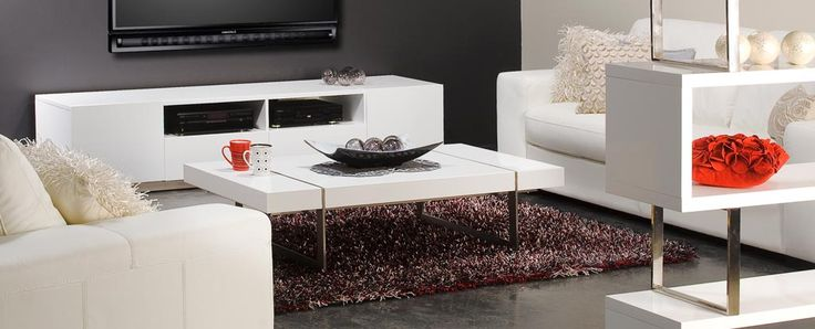 Miami collection entertainment unit There are no floral shirts, gold chains and white shoes here... the stylish clean lines of the Miami collection are pure class. Finished in pristine gloss white lacquer and brushed stainless steel slimline highlights.