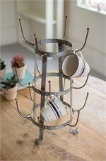 Galvanized Glass Dryer Rack, Vintage French Bottle Drying Rack, Rustic Kitchen, Cup Holder, Mug Holder