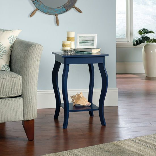 Curved-Leg Contemporary Side Table in Indigo Blue