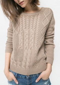 Cable-knit cotton sweater - Women | MANGO