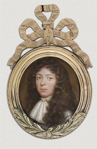 Médaillon, portrait présumé du marquis de Villarceaux, par Petitot Jean le Vieux (né en 1607-1691) école française sur émail Paris, musée du Louvre, ancienne appartenance Louis XVI. -