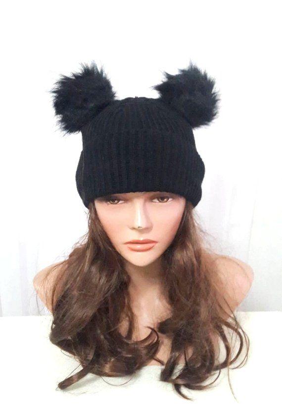 3f97ae4d94db32 Knit Double Pom Pom Hat Winter Hat Women Men Fashion Accessories Gift Ideas