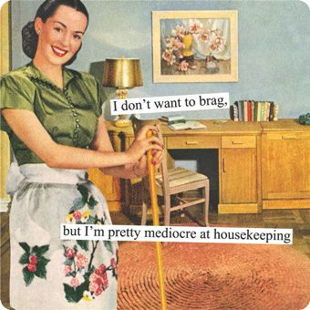 I don't want to brag, but I'm pretty mediocre at housekeeping. Anne Taintor