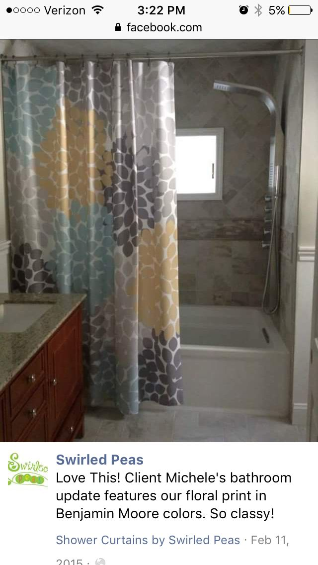 Love The Muted Shades But Would Replace Yellow With Purple Custom Fabric Shower Curtain By