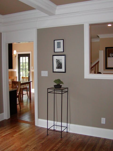 brandon beige, benjamin moore   Wall color? Love the white trim.