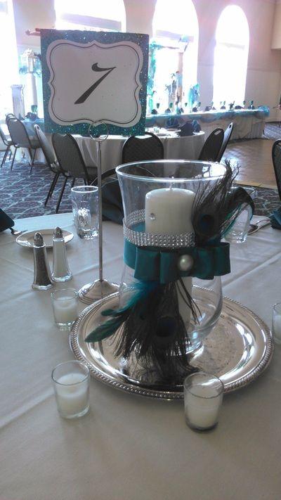 Wedding Bliss - Faded Velvet - hand-made peacock centerpiece