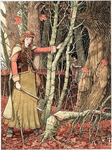 The Enchanted Wreath; illustration from the Orange Fairy Book by Tomislav Tomic