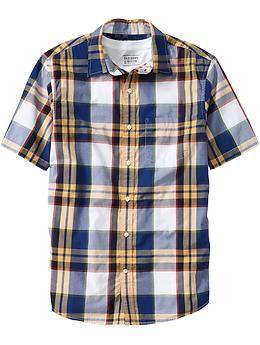 Mens Short-Sleeve Plaid Shirts