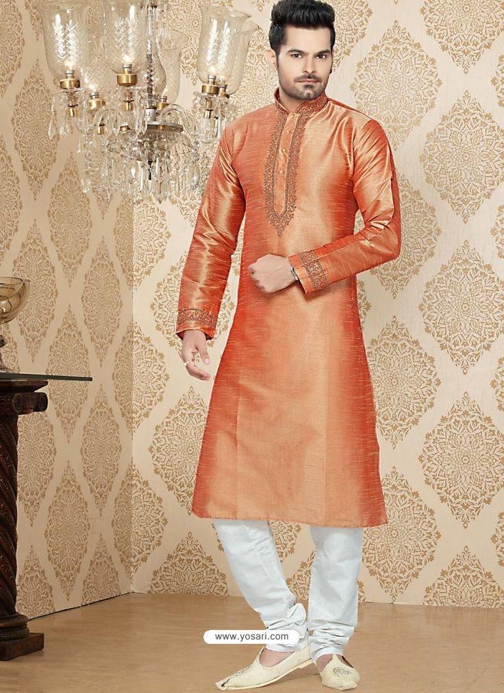 Astonishing Orange Art Silk Readymade Kurta Model: MKU614