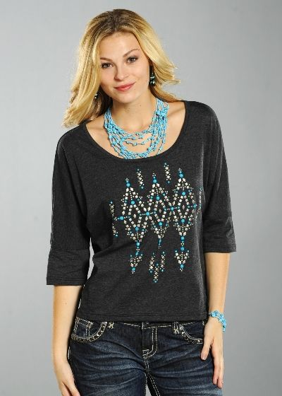 Panhandle Slim Ladies Heather Jersey with Turquoise Bead & Brushed Silver Studs: Sierra Western Wear Ladies short sleeve Heather Jersey oversize pull-over with metal stud and cabochon bead design. High-Low Hem. #Ladies Western Wear #Ladies Fashion #Western Fashion #Panhandle Slim Fashion #Fashion Western Wear #Cowgirl Fashion #Fashion Cowgirls