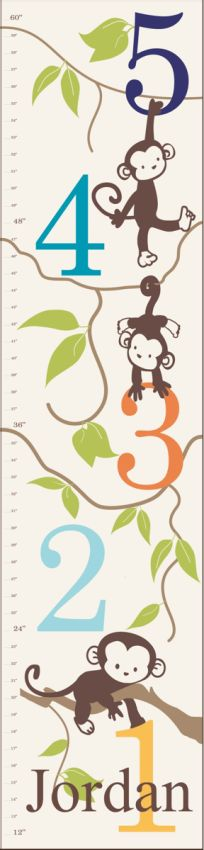 Monkeying Around Canvas Growth Chart by Alphabet Garden is the perfect keepsake gift idea. Personalize the growth chart with a child's name or initial for no extra cost. Monkeying Around Growth Chart